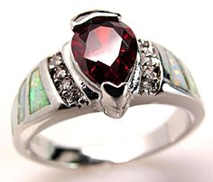 White Fire Opal Inlay Garnet 925 Sterling Silver Ring Size US 8.5 NWT