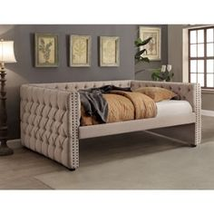 Furniture of America Suzanne Collection Full Size Daybed with Trundle, Tuxedo-Inspired Design, Linen-Like Fabric, Button Tufted, Nailhead Trim and Solid Wood Construction in Ivory Color Furniture, Daybed, Bedroom Furniture, Daybed With Trundle, Daybed Sets, Furniture Of America, Full Daybed With Trundle, Home Decor, Bed Furniture