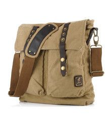 Vintage Inspired Canvas Shoulder Bag - Khaki