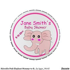 Adorable Pink Elephant Mommy-to-Be Baby Shower Jelly Belly Tin