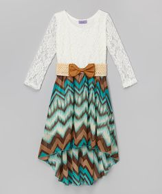Another great find on #zulily! Jade Tribal Lace Belted Hi-Low Dress - Girls #zulilyfinds