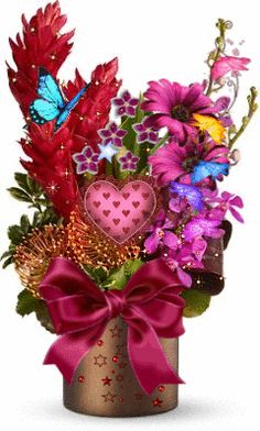 Animated Valentine Bouquet love cute flowers animated kisses bouquet valentine's day happy valentine's day graphics valentine gifs