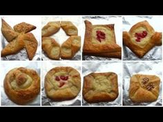 Danish Pastry Shapes - How to Shape Danish Pastries Shaping Danish Pastries Sweet cheese Danish pastries To make the sweet cheese you will need 200 grams of . Puff Pastry Appetizers, Puff Pastry Desserts, Puff Pastry Recipes, Strawberry Puff Pastry, Pastry Basket, Frozen Pastry, Turnover Recipes, Puff Pastry Dough, Fruit Bread