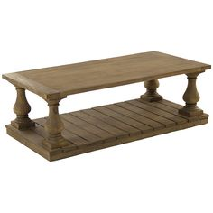 Furniture::Coffee Tables::Stained Plank Wood Coffee Table