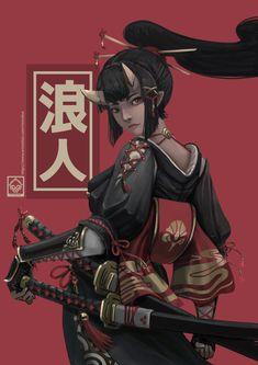 Ronin Samurai, Samurai Anime, Female Samurai Art, Female Character Design, Character Design Inspiration, Character Art, Arte Ninja, Ninja Art, M Anime