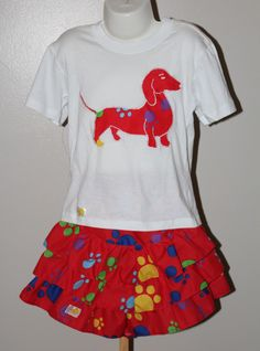 Adorable skirt with paw print design and t-shirt with dachshund applique, red Ruffled girls skirt, Knee length skirt, T-shirt with dog by JaxStarClothing on Etsy Dachshund, Print Design, Applique, Dog, Trending Outfits, Girls, Etsy, Vintage, Diy Dog