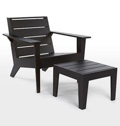 Arcadia Adirondack Chair and Ottoman Onyx D2018.  Rejuvenation