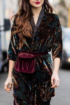 Runway Fashion, Boho Fashion, High Fashion, Womens Fashion, Fashion Trends, Mode Kimono, Velvet Fashion, Holiday Outfits, The Dress