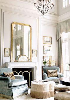 Pretty living room - gilded mirror, frames, velvet chairs with fringe, leopard…