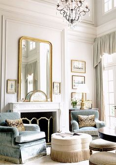 Pretty living room - gilded mirror, frames, velvet chairs with fringe, leopard…