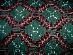 """I met a very sweet woman at our retreat last weekend (Mountain Meadows) who was working on a blanket made by """"Swedish Weaving."""" It was very fascinating and her work was beautiful!"""
