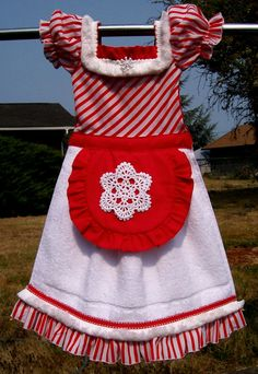 Christmas Peppermint Mrs Claus Oven Door Dish Towel Dress