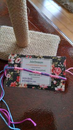 Light pink, blue, and dark pink square knots pattern friendship bracelet by JolieTreasure on Etsy