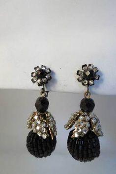 Signed M Haskell Black Glass Bead & Montee Rose Drop Dangle Earrings FABULOUS!