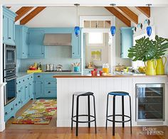 Thankfully, when it comes to paint, there are no hard and fast rules for how to use it. This is one medium that you can get creative with, so don't be afraid to switch things up in the kitchen. For example, instead of white cabinets and blue walls, try painting your cabinets blue and your walls white. The Color: Stone Blue, No. 86 -- Farrow & Ball/