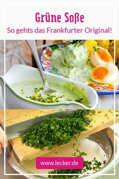 Green sauce - recipe for the Frankfurt classic DELICIOUS - Lunch Recipes Curry Recipes, Sauce Recipes, Vegetarian Recipes, Healthy Recipes, Chicken Recipes, Avocado Dessert, Salsa Verde, Evening Meals, Quick Meals