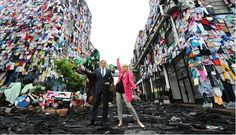 Joanna Lumley and M CEO Marc Bolland at the Shwop Lab, which was covered in clothes and decorated with clothing sculptures to highlight the issue of the huge amount of discarded clothing that ends up in UK landfill sites. Source: marksandspencer.com
