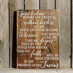 """Oceans by Hillsong // Hand Painted Lyrics on Solid Wood // 16"""" X 22""""…"""