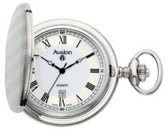 """Avalon Silver Tone Covered Pocket Watch with 515 Swiss Parts Date Movement and Chain # 8660SX Avalon. $52.99. Arrives in gift box with lifetime limited warranty. Regal white ceramic dial with metallic silver-tone perimeter and black roman numerals. Includes 15"""" curb link chain with spring ring. Precision Ronda Swiss parts date movement. Elegantly detailed brass silver tone covered pocket watch suitable for engraving. Save 63%!"""