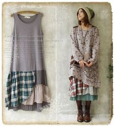 Mori Girl Floral Plaid Sleeveless Dress Lagenlook Basis Base Skirt Lolita #Lk-4