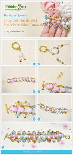 Colorful Beaded Bracelet by wanting Seed Bead Jewelry, Hair Jewelry, Beaded Jewelry, Handmade Jewelry, Hand Armband, Beaded Earrings, Beaded Bracelets, Hand Bracelet, Earring Tutorial