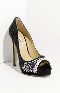 Oscar de la Renta Black Sequin Peep Toe Pumps #Shoes #Heels