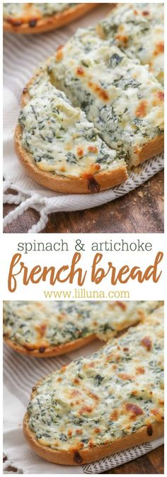 Spinach Artichoke French Bread - a deliciously cheesy appetizer!! French bread covered in cheeses, sour cream, spinach, artichokes, and seasonings! SO yummy!