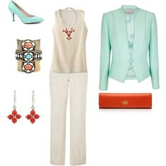 Mint and Coral Business - Plus Size, created by intcon on Polyvore