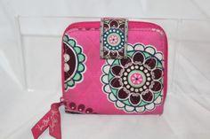 af5310bdd0 Vera Bradley Wallet Change Purse Pink floral Paisely Cotton Quilted zip  Around  VeraBradley  Trifold