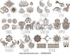 mehndi symbols on a white background