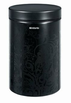 Brabantia Black Silhouette Storage Canister 1.4 Liter by Brabantia. $13.99. Black silhouette. Brabantia Storage Canister. Airtight seal keeps food fresh and protected. Wipe Clean. Exhibiting the high quality that Brabantia is known for, this black silhouette canister features a silhouette design; an attractive, subtle high-gloss floral pattern over a matte finish. It is very durable and will keep foods both fresh and protected. Excellent for storing foods such as...