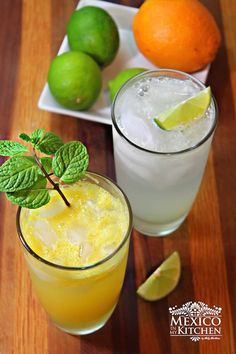 Mexican Limeade Orangeade recipe Besides the simple or natural varieties of limeade or orangeade, this version is popularly sold at restaurants in Mexico. Mexican Side Dishes, Mexican Drinks, Mexican Food Recipes, Mexican Menu, Mexican Cooking, Orangeade Recipe, Easy Homemade Recipes, Top Recipes, Gourmet