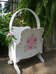 Shabby Cottage Chic hp Roses Vintage Magazine Stand-shabby,chic,cottage,hand painted,roses,vintage roses,hp roses,victorian,chippy,distressed,antique,co