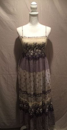 Victoria's Secret Silk / Cotton Lavender/ Cream Floral Maxi Dress Sz Medium #VictoriasSecret #Maxi