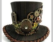 Steampunk Mini Top Hat -  Copper and Brown Pinstripe Gears, Keyhole, Key