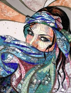 "Simply stunning. I could relax while enjoying a tiled mermaid mosaic featuring a lovely lady like this. See this image on Society of American Mosaic Artists: ""Reveal"", 2010, Smalti, 24 gold smalti, iridescent tile, marble, granite, shells, carroltons, millef...iori, Cristallino, Vitrium Oceana, Paua, mother of pearl and fresh water pearl."