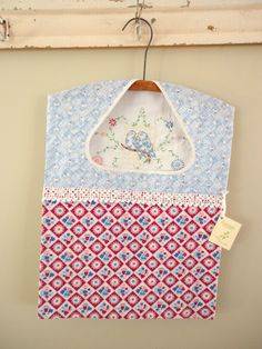 clothespin bag created from vintage embroidered linens