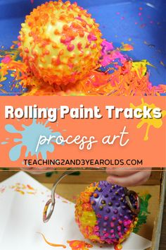 Looking for an easy toddler process art activity? Try painting with sensory balls! #art #processart #toddler #paint #easy #finemotor #sensory #age2 #teaching2and3yearolds Kids Art Space, Art For Kids, Crafts For Kids, Arts And Crafts, Toddler Art, Toddler Preschool, Painting Activities, Activities For Kids, Process Art