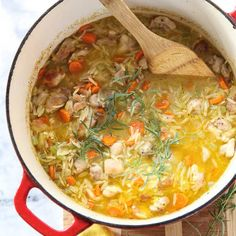 A one-pot dinner is a must-make meal for any new mom and dad. And with a lemony twist on the classic chicken and rice soup—this time with orzo pasta that helps thicken this flavor-filled cooking bonanza— Lemon Chicken Stew Soup Recipes, Chicken Recipes, Cooking Recipes, Detox Recipes, Dinner Recipes, Recipies, Detox Meals, Casserole Recipes, Frango Chicken