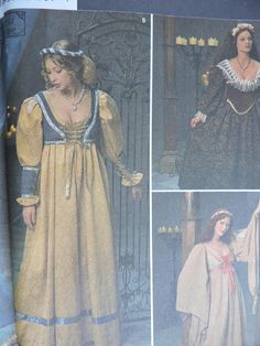 Items similar to Lady's Gown Dress Veil Headband Renaissance Medieval Stage Play Historic Costume Andrea Schewe Simplicity 8192 Pattern Adult Sz. 10 - 14 on Etsy Vintage Dress Patterns, Dress Sewing Patterns, Fabric Sewing, Renaissance Gown, Costume Dress, Gown Dress, Medieval Costume, Costume Patterns, Historical Costume