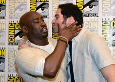 """Woodside and Tom Ellis attend the """"Lucifer"""" Press Line during Comic-Con International 2016 at Hilton Bayfront on July 2016 in San Diego, California. Series Movies, Movies And Tv Shows, Tv Series, Toms, Tom Ellis Lucifer, Cardiff, The Ancient Magus Bride, Lauren German, Morning Star"""