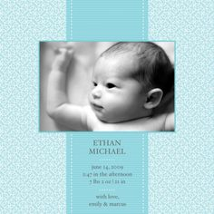 Patterned background birth announcement
