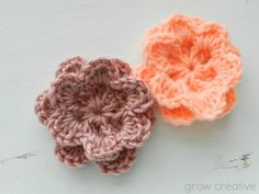 Two Layer Crochet Flowers-perfect for a headband or as an accent piece to sew on