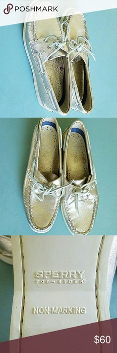 Sperry Gold Top Siders Size 7 Here for you is a like new pair of Gold Shiny Sperry Top siders brand shoes. These were never worn.  These are going to be your favorite shoes. Very comfortable loafer or boat shoe.  Gold color with white bottoms flat. Size 7 Sperry Top-Sider Shoes Moccasins