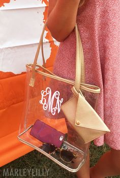 Be ready for Game Day with a Monogrammed Clear Bag! Shop here: https://marleylilly.com/product/monogrammed-clear-bag/