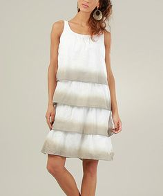 Take a look at this White & Gray Tiered Sleeveless Dress by Kushi by Jasko on #zulily today! $24.99, regular 64.00