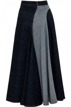 A Line Denim Skirt, Pencil Skirt Casual, Curvy Fashion, Look Fashion, Fashion Outfits, Jean Dress Outfits, Velvet Dress Designs, Muslim Fashion, Hijab Fashion