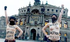 Feminist activists hold naked protest praising Bomber Harris  German Pirate prty member celebrates the death of Germans.