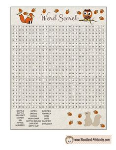 Free Printable Woodland Baby Shower Word Search Game