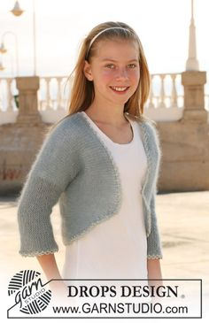 """Ravel Kids - DROPS bolero in garter st in 2 threads """"Kid-Silk"""", knitted in one piece. Size 7 to 14 years. - Free pattern by DROPS Design Knitting For Kids, Baby Knitting Patterns, Crochet For Kids, Knitting Designs, Free Knitting, Drops Design, Crochet Shrug Pattern Free, Free Pattern, Magazine Drops"""